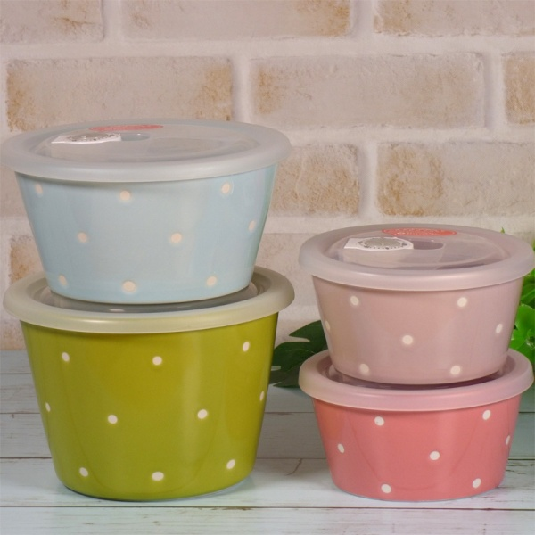 Set of 4 colourful ceramic storage containers