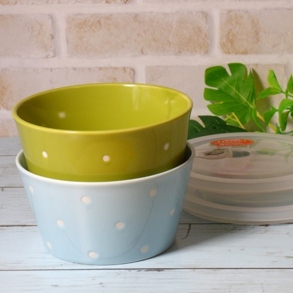 Blue and green ceramic food storage dishes