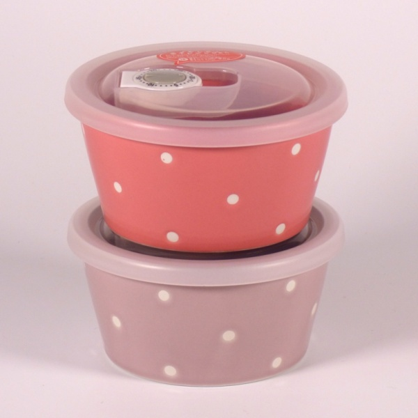 Small pink and mauve ceramic storage containers