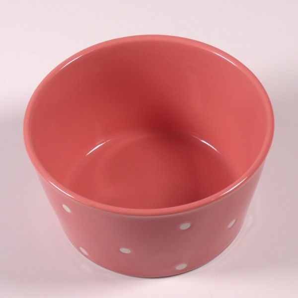 Inside surface of Small pink ceramic food storage and microwave dish