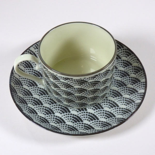 Monochrome Qinghai wave pattern coffee cup with saucer