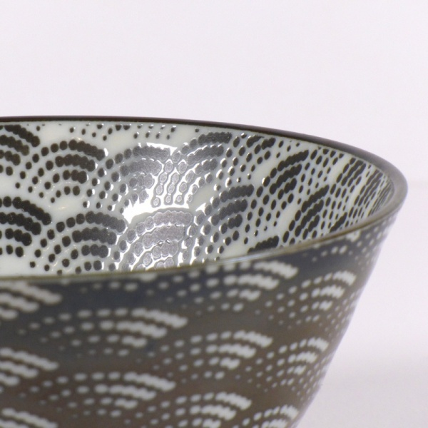 Monochrome Qinghai wave pattern rice bowl close up