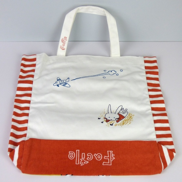 Canvas tote bag with Rabbits design reverse side