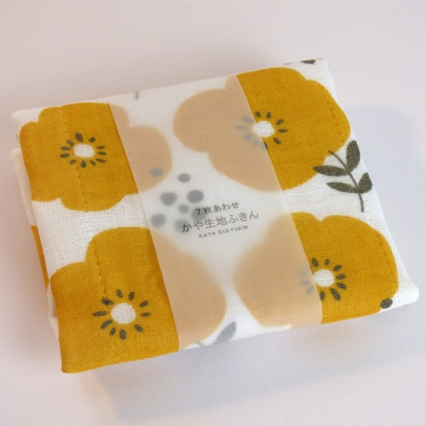 Reusable fabric kitchen cloth with yellow flowers