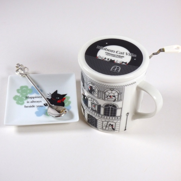 'Ribbon Cat' square mini plate with Musical Cats mug