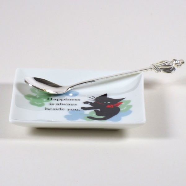 Square 'Ribbon Cat' mini plate with teaspoon