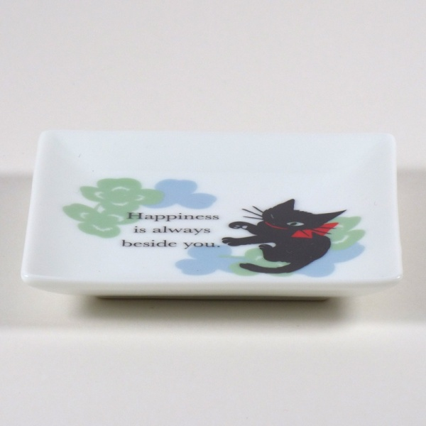 'Ribbon Cat' square mini plate with black cat design