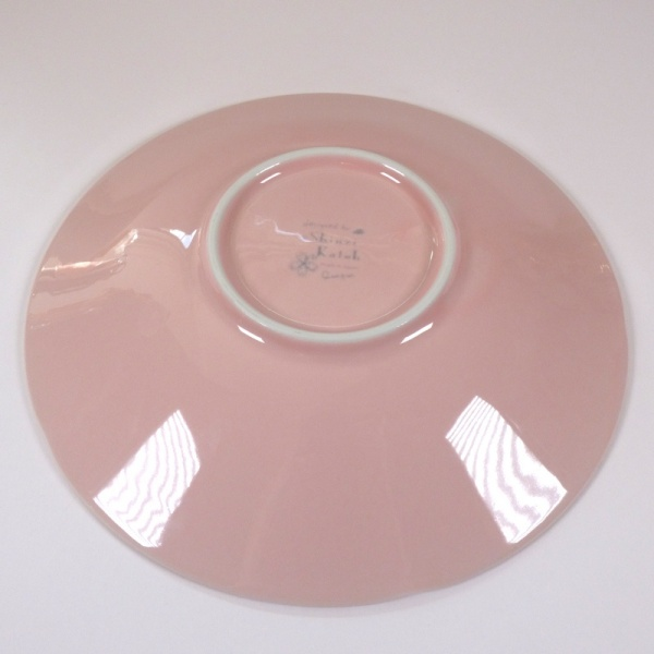 'Sakura Temari' ceramic dish in Pink, underside showing Shinzi Katoh mark