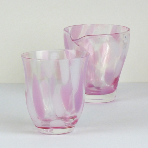 Pink 'Sakura' glass tumbler and matching glass jug
