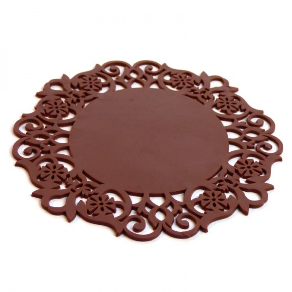 Silicone lace coaster - brown