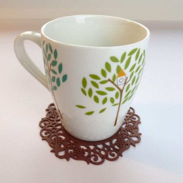 Silicone lace pattern coaster - brown