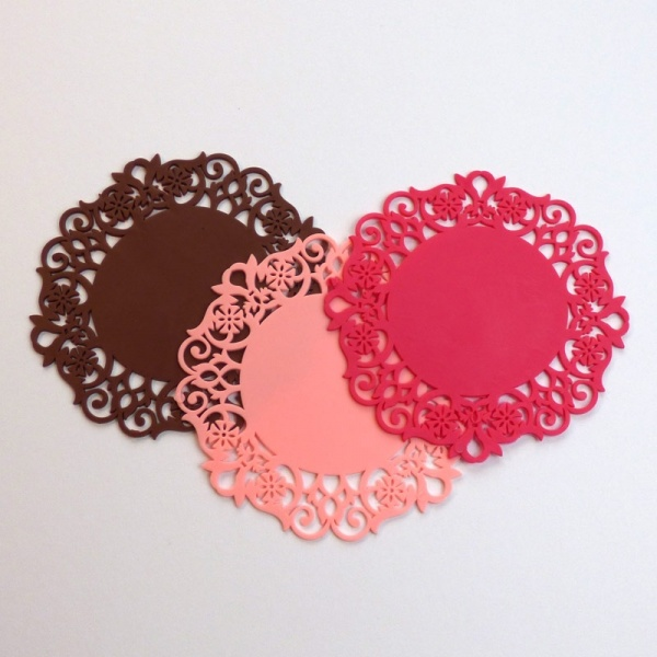 Silicone lace coaster - brown, pink and dark pink