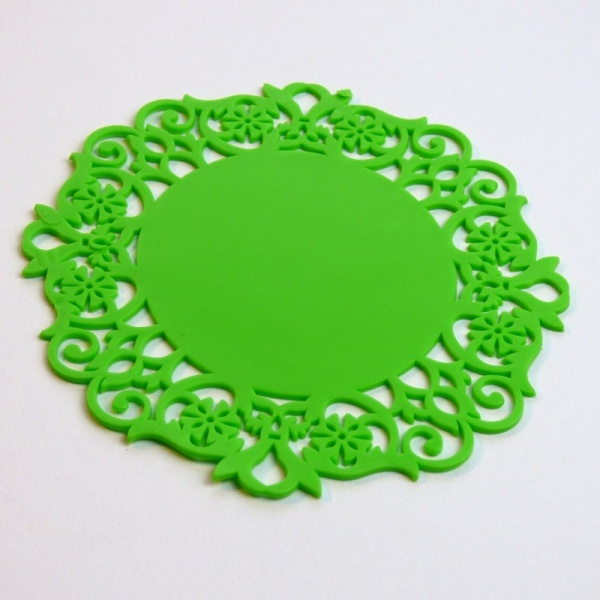 Silicone lace coaster - green