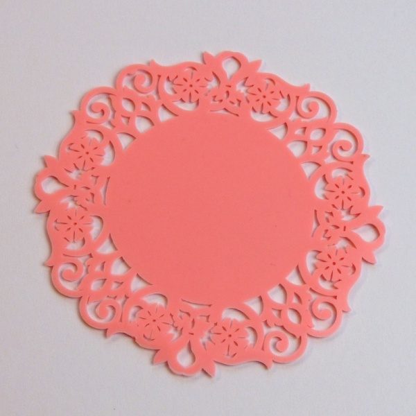 Silicone lace coaster - pale pink