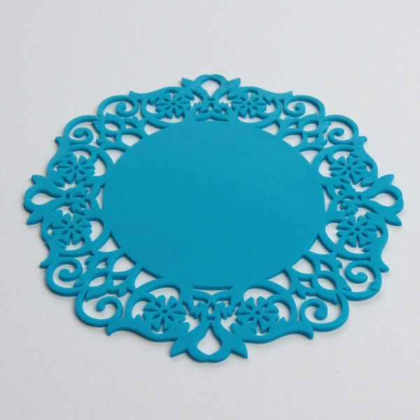 Silicone lace coaster - turquoise blue