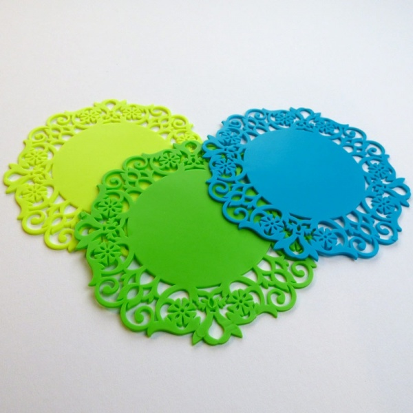Silicone lace coaster - yellow, green and blue