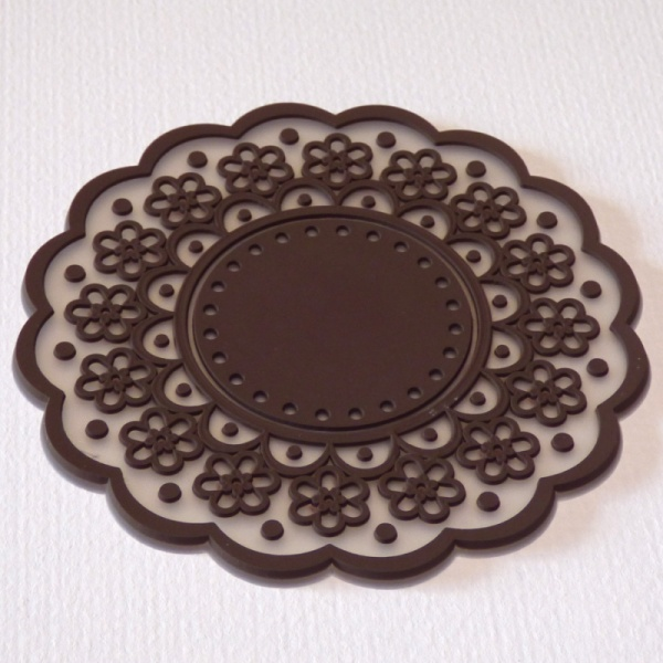Silicone lace pattern coaster - coffee bean brown