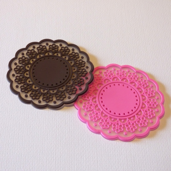Silicone lace pattern coaster - brown and pink