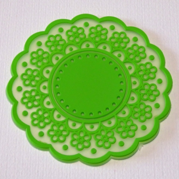 Silicone lace pattern coaster - Lime Green