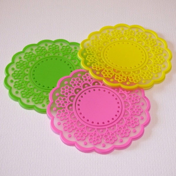 Silicone lace pattern coaster - green, yellow and pink