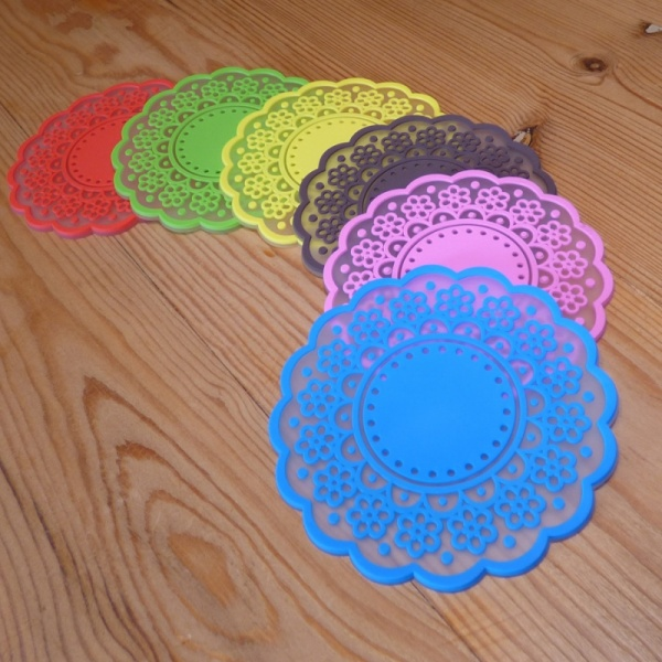 Silicone lace pattern coaster in multiple colours