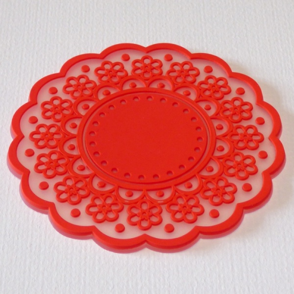 Silicone lace pattern coaster - Lipstick Red