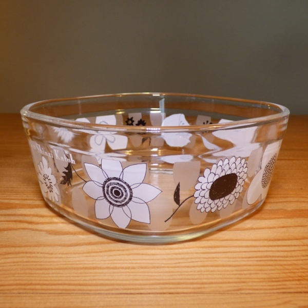 Small square glass storage pot shown without lid