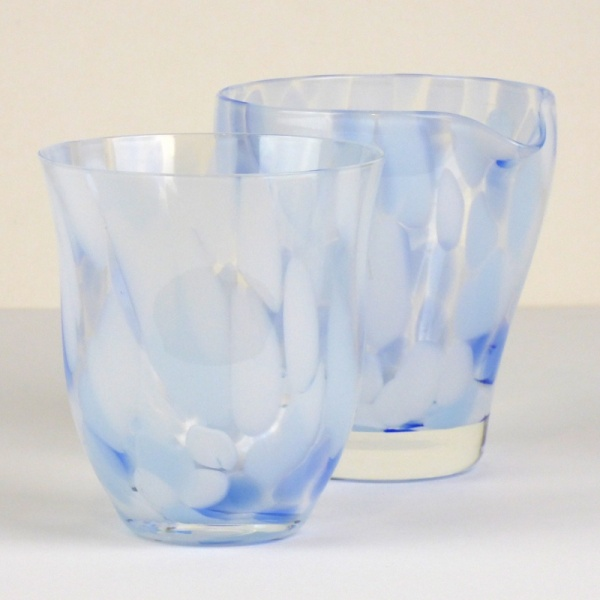 Blue 'Sora' glass tumbler and matching glass jug