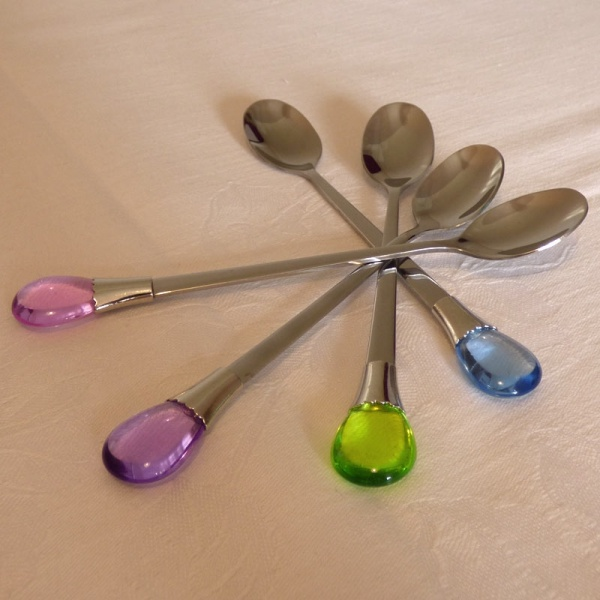 Teaspoons with colourful gem ornament on the handle
