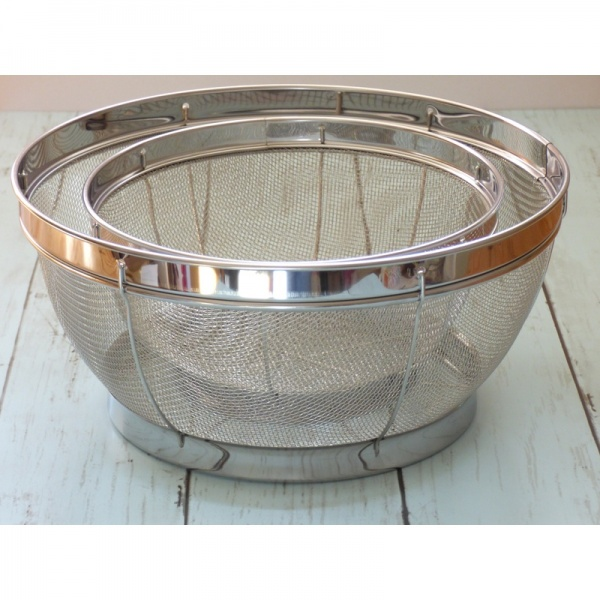 Set of two large stainless steel sieves