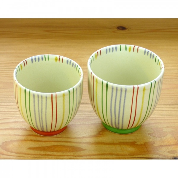 Japanese teacup with striped design, large and small sizes