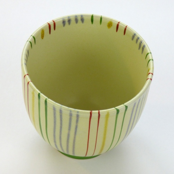 Japanese teacup with striped design from above
