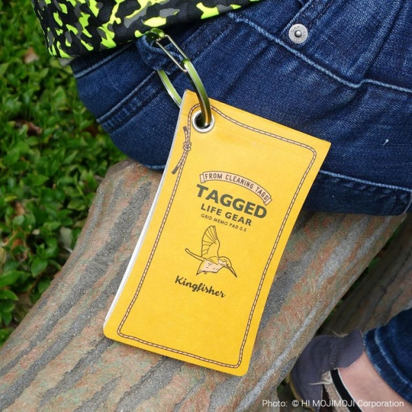 'Tagged Life Gear' Japanese notepad attached to jeans belt