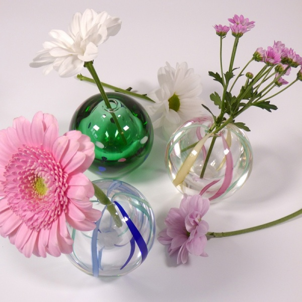 Collection of 'Temari' design small glass vases