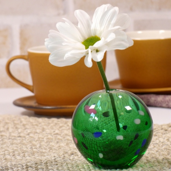 Green glass vase with single large daisy flower