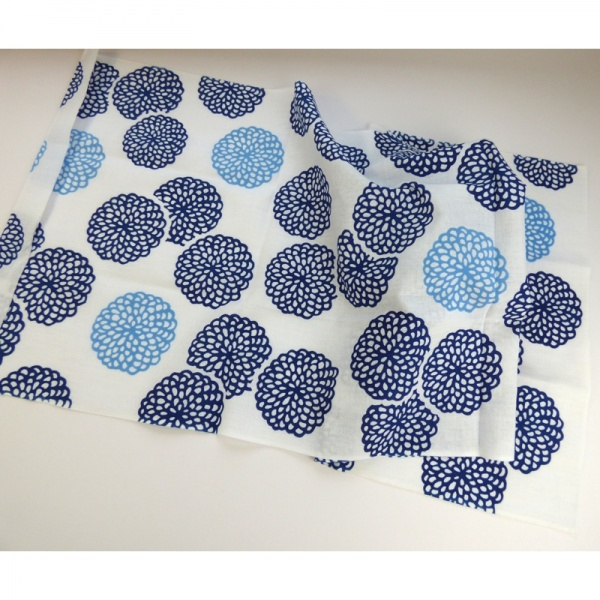 Folded Blue Chrysanthemum tenugui cloth