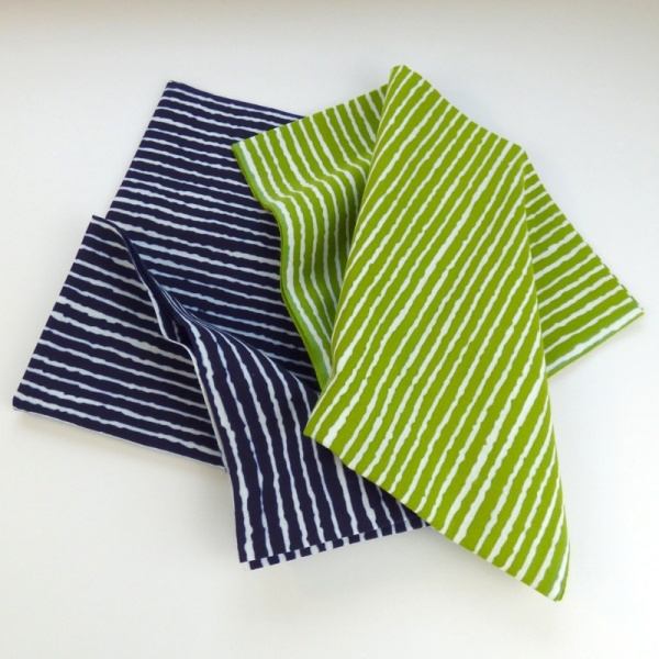 Navy blue and green stripe tenugui cloths