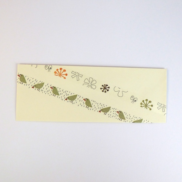 Green bird washi tape on greetings card