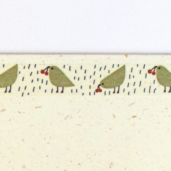 Close up of green birds washi tape