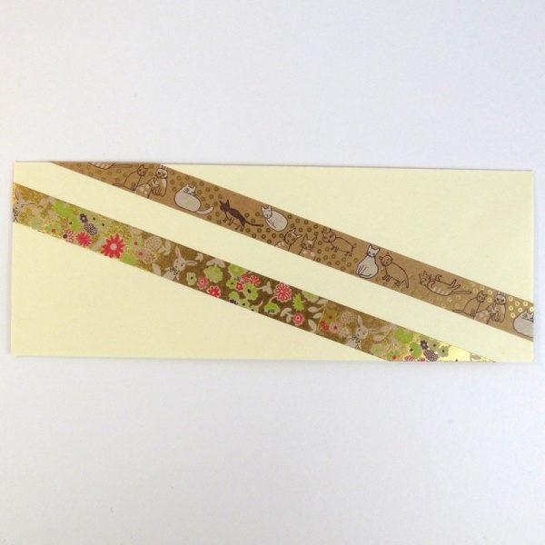 Metallic washi tapes on greetings card