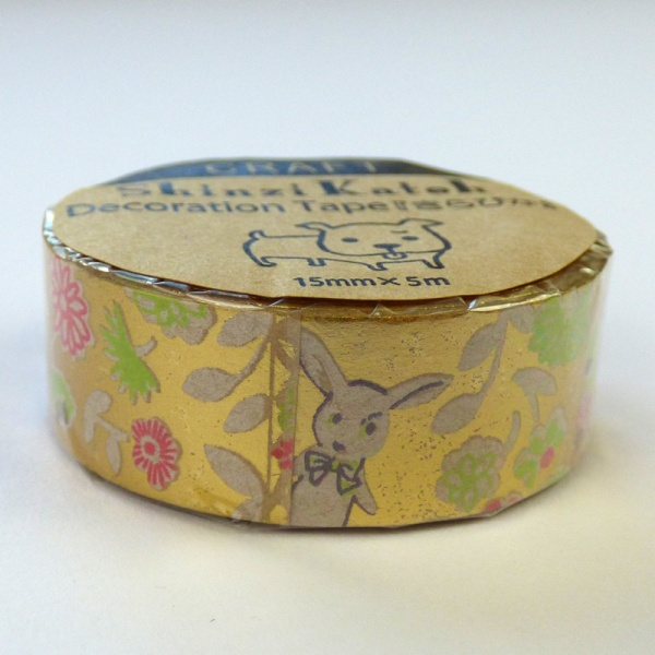 Metallic White Rabbit pattern Japanese washi tape by Shinzi Katoh