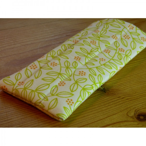 Handmade quilted glasses case in yellow leaf print