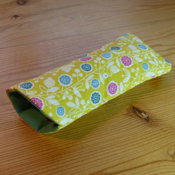 Handmade quilted glasses case in yellow vine floral print