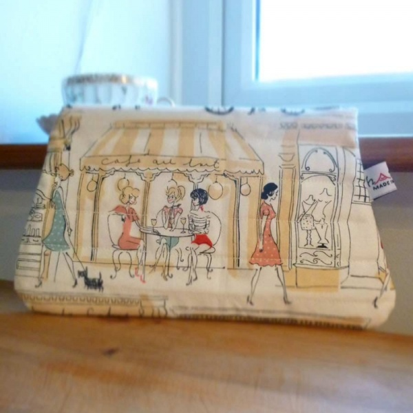 Zip makeup bag or pouch with Paris scene pattern