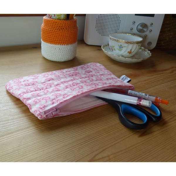 Zip makeup bag or pouch in pink ginkgo leaf pattern fabric - with contents