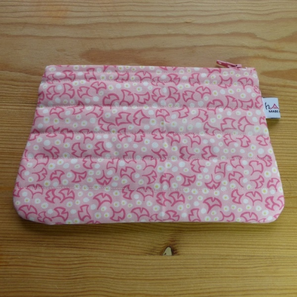 Zip makeup bag or pouch in pink ginkgo leaf pattern fabric