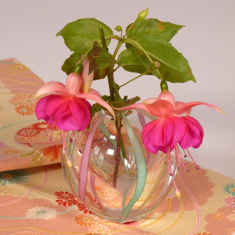 Small Japanese Vase Temari Spring Shoots Design